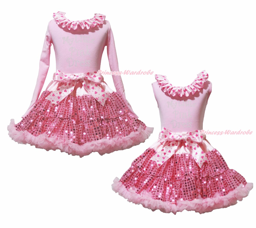 купить My Little Pink Dress Pink Top Girl Hearts Bow Sequin Skirt Outfit Set 1-8Year дешево