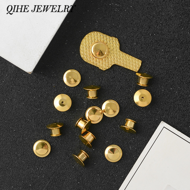 QIHE JEWELRY Locking Pin Backs For Enamel Pins Gold Silver color Pin Keepers Clasp Extra pin clutches Never lose a pin again!