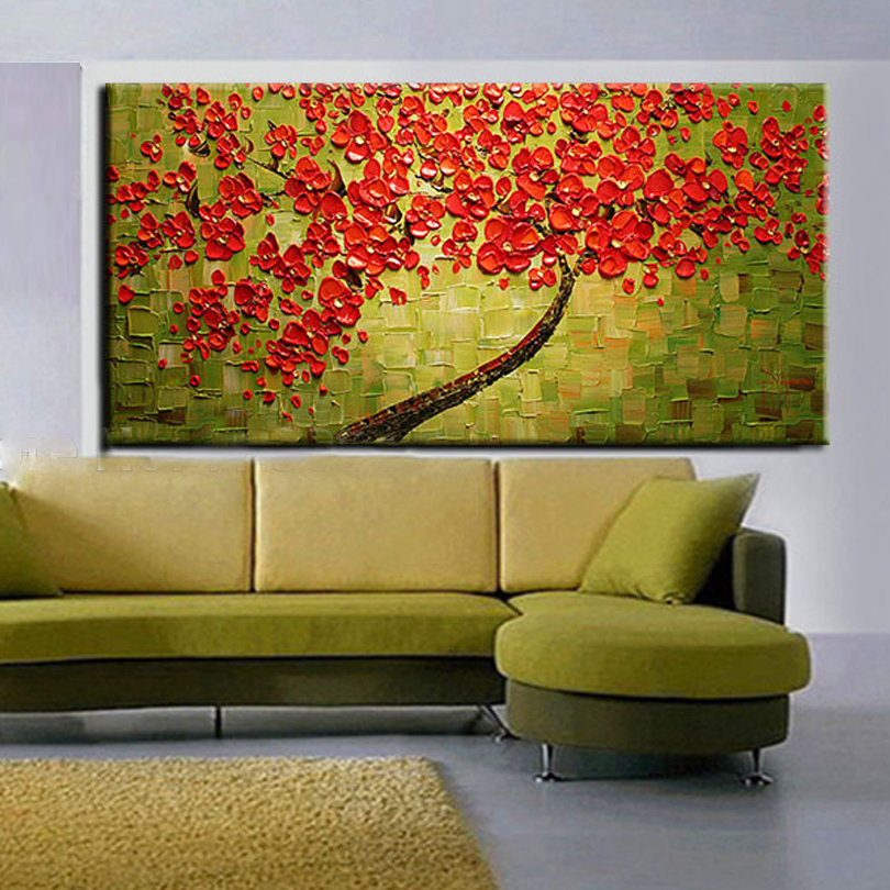 handmade Modern Canvas on Oil Painting Palette knife Tree 3D Flowers ...