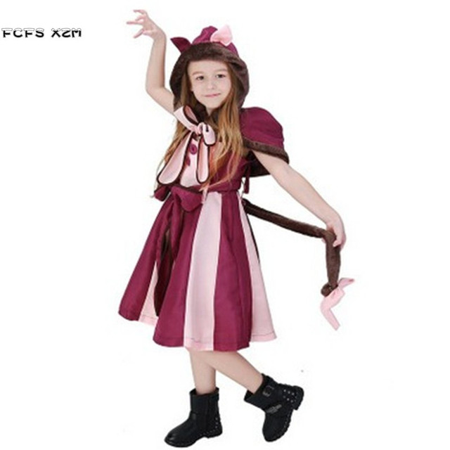 415620a039a7 Алиса в стране чудес девочек Чеширский кот животных Cosplays костюмы на  Хэллоуин для детей Пурим Рождественский