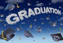 Laeacco 만화 하늘 학사 모자 졸업 사진 배경 맞춤 사진 배경 사진 스튜디오