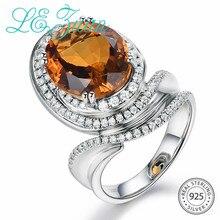 L& zuan, 925 пробы, серебряное, натуральное, 6.945ct, императорское, желтое, цитрин, зубчатое, Установочное кольцо для женщин, высший класс, драгоценный камень, коктейльное кольцо