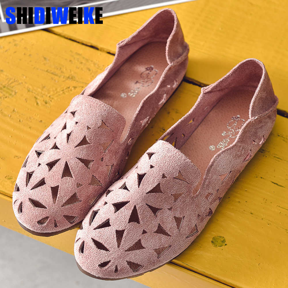 Donne di estate Scarpe Basse Morbido casual Mocassini Ballerine Donna Dolce Cut-Out Suede Slip On Mocassini Respirabili Delle Signore Calzature