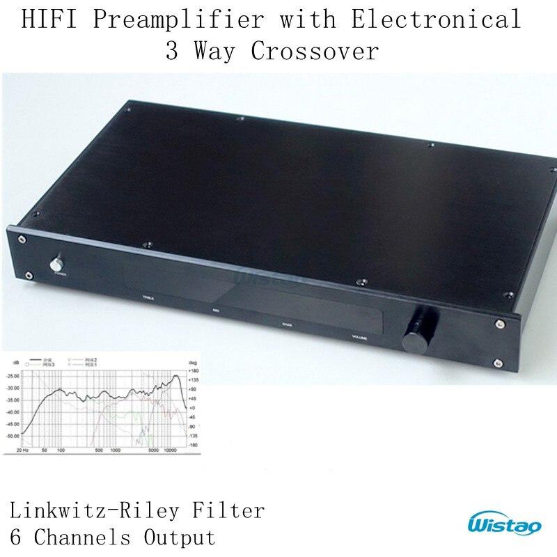 HIFI Préamplificateur avec Électronique 3 Way Crossover Linkwitz-Riley Filtre 6Chs Sortie Crossover-point 310 HZ/3.1 KHz Classe Une Puissance