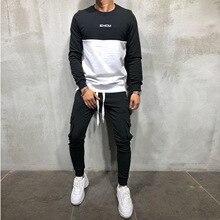 2019 new spring men sport suit long sleeve T-shirt sweatshirt+pant running jogger casual workout outfit set sportswear tracksuit цены
