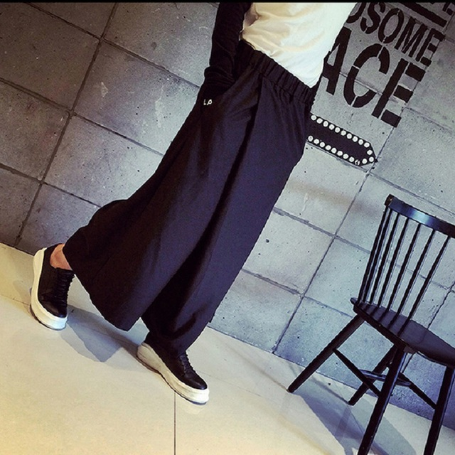 HZIJUE Men Wide Leg Trousers Linen Male Fashion Casual Harem Pant Japan Style Comfortable Skirt Pant 4