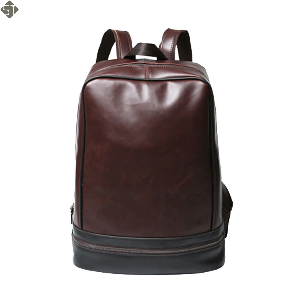 New Crazy horse Men Backpacks Black Leather Male Schoolbags For Teenagers Mochilas Women ...