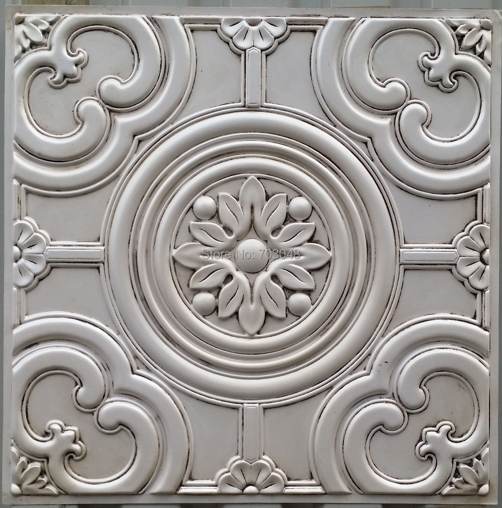 pl50 faux finish embossed 3d ceiling tiles antique white cafe club