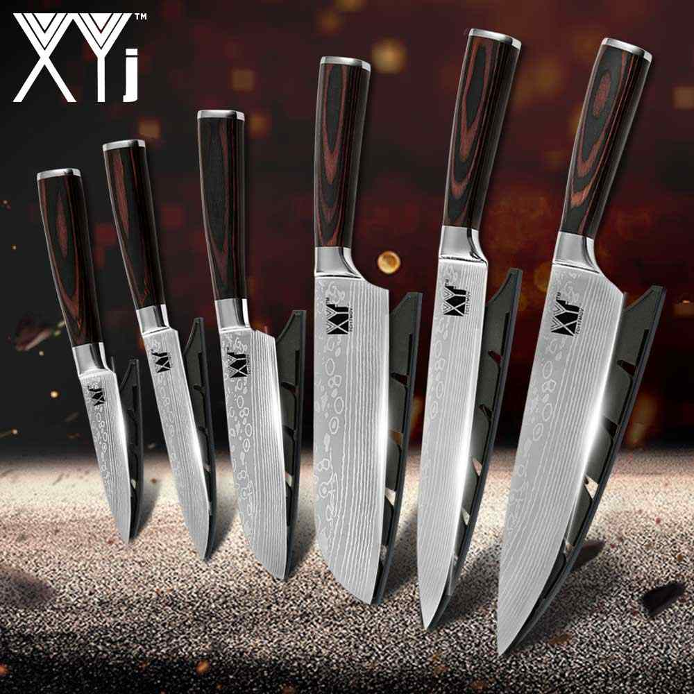 XYj Kitchen Knife Set Stainless Steel Blades Damascus Laser Chef Knife Sets Slicing Santoku Utility Paring Kitchen Cooking Tools