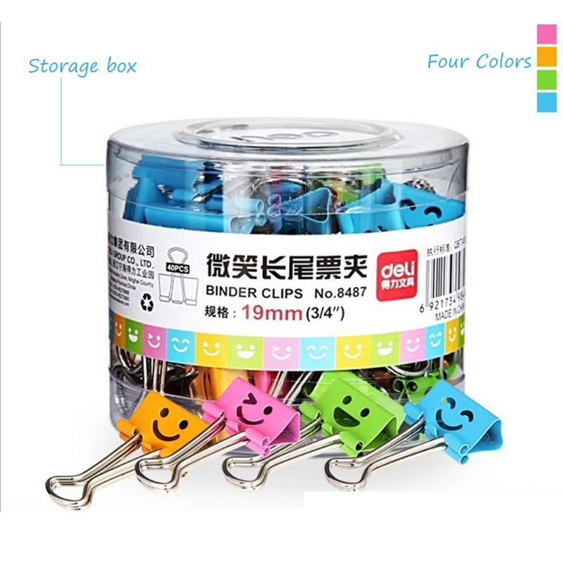 цена 80Pcs/set 19mm Metal Clip Colorful Smile Face Metal Binder Paper Clip Designs Office Stationery