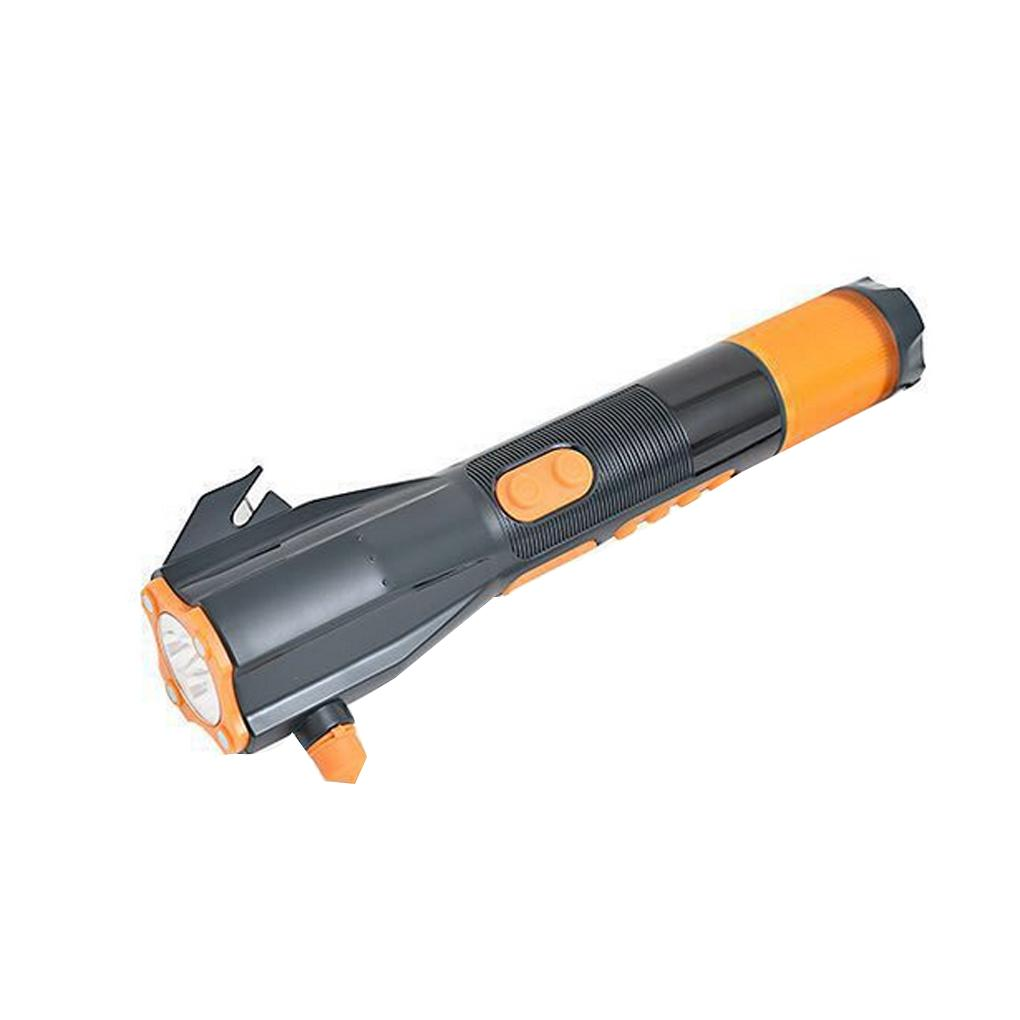 цена на Emergency Dynamo Flashlight Car Emergency Hammer Cutter Compass Mobile Power Bank Flashlight