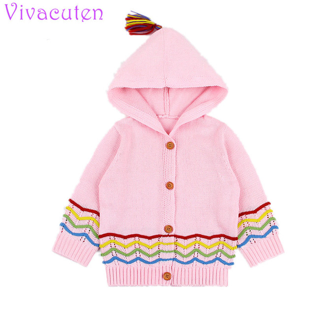 Baby Knitting Cardigan 2018 Winter Warm Newborn Infant Sweaters Fashion Long Sleeve Hooded Coat  baby girls knit Outfits