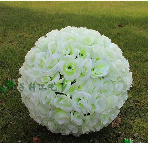 7 Inches White Flower Ball: Milk White 30cm 12 Inch Artificial Rose Silk Flower