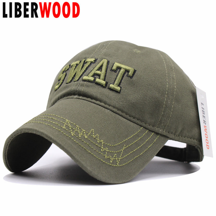 LIBERWOOD Men SWAT Tactical Cap 3D Embroidery Baseball Cap USA SWAT Cotton  Hat Snapback Caps Gorras 257fd8867b05
