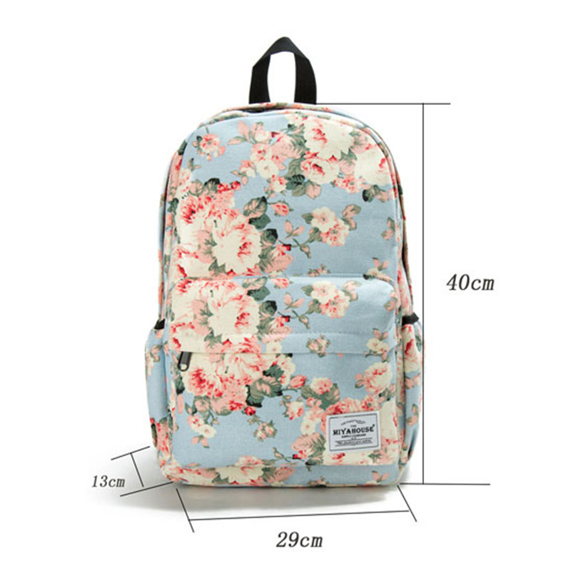 Image 3 - Miyahouse Fresh Style Women Backpacks Floral Print Bookbags Canvas Backpack School Bag For Girls Rucksack Female Travel Backpack-in Backpacks from Luggage & Bags