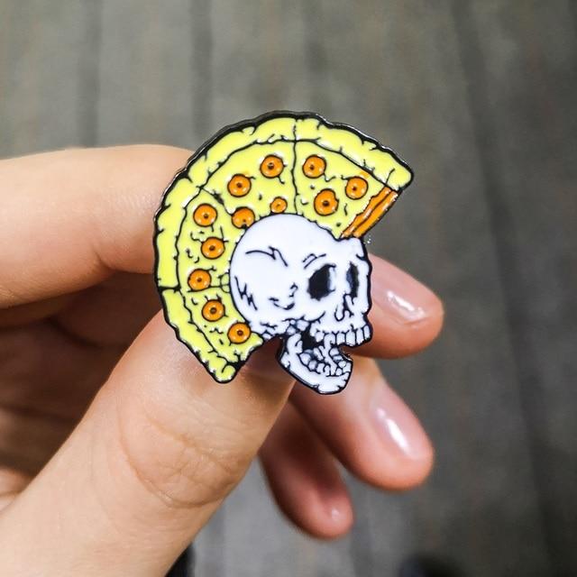 Drôle Pizza crâne broche Punk spécimen Mohawk squelette crayon brosse Palette émail broches broches Badges broches pour Cool femmes hommes