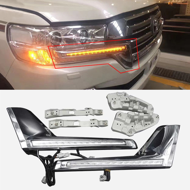 Chrome Front Grille LED Dynamic Turn Signal Light Daytime running lights For Toyota Land Cruiser 200 FJ200 LC200 2016 2017 2018 image