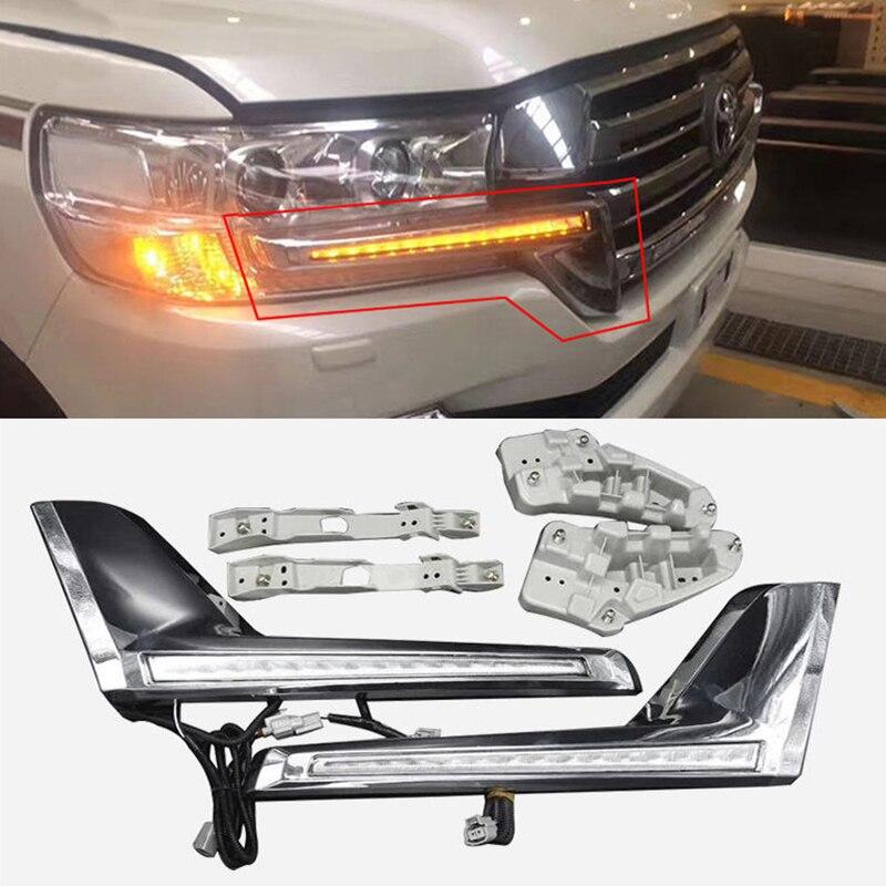 Chrome Front Grille LED Dynamic Turn Signal Light Daytime running lights For Toyota Land Cruiser 200 FJ200 LC200 2016 2017 2018