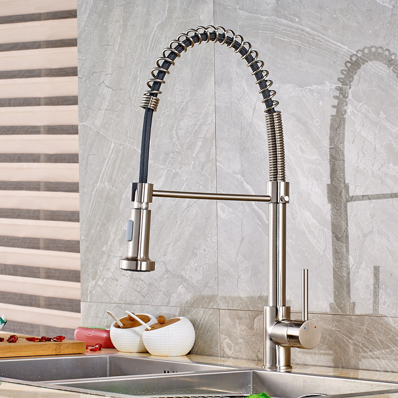 Deck Mounted Single Handle Spring Brushed Nickle Pull Out Kitchen Faucet Mixer free shipping low price promotion brushed nickle solid brass spring kitchen faucet two spouts pull deck mount mixer faucet zr659
