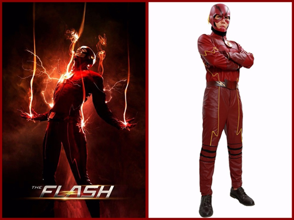 The Flash Season 2 Costume Outfit COSplay Superhero Suit PU Mens Props