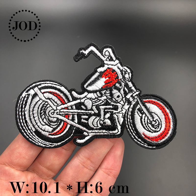 Black White Embroidered Skull Iron on Patches for Clothing biker DIY Badge Fabric Stickers Applique Embroidery Patch Clothes in Patches from Home Garden