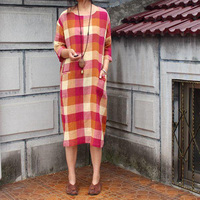 2016 Summer Dress Cotton Linen Pullover Plaid Dress Lattice Robe Ethnic Style Clothes Comfortable Women Dress Vintage