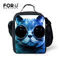 FORUDESIGNS Cut Animal Cat Printing Lunch Bag for Kids Insulated Adult Picnic Lunch Box Women Container Food Bag Lancheira