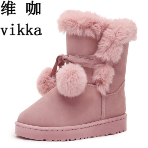 New hot sales Ladies lovely pompon fur mid calf boots 2018 new arrival plush butterfly knot female warm shoes winter snow boots double buckle cross straps mid calf boots