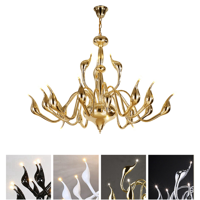 24 head swan led chandelier light art deco european creative gold 24 head swan led chandelier light art deco european creative gold black white chrome color body mozeypictures Image collections