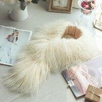 SCM060 Women S Real Mongolian Sheep Fur Scarf Scarves Brand New Neck Wear Winter Warm Wraps