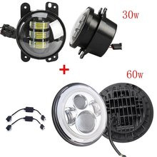 1 Pair 97-15 Jeeep Wrangler LED Headlight 7″ Inch Chrome LED Projector Daymaker with white amber halo + 4inch 30w led fog