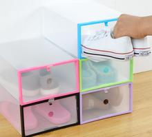 2PC Shoe Organizer Shoe Storage Box Plastic Shoe Box Transparent Rangement Chaussure Shoe Cabinet Make Up Organizer Plastic Box