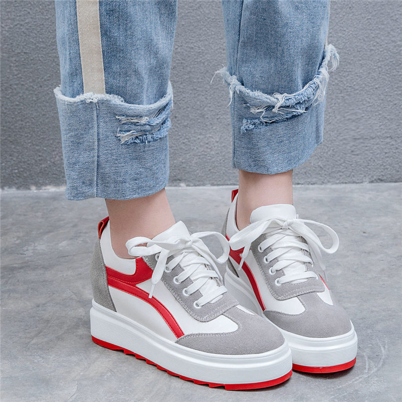 Chic Sneakers Shoes Women Lace Up Tennis Cow Leather Wedges Platform Pumps High Heel Oxfords Goth Trainers Punk Creepers