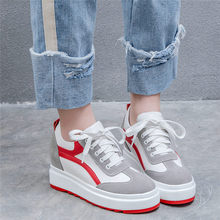 Chic Sneakers Shoes Women Lace Up Tennis Shoes Cow Leather Wedges Platform Pumps High Heel Oxfords Goth Trainers Punk Creepers outdoor creepers women cow leather wedges high heel party pumps punk goth tennis shoes round toe platform oxfords trainers shoes