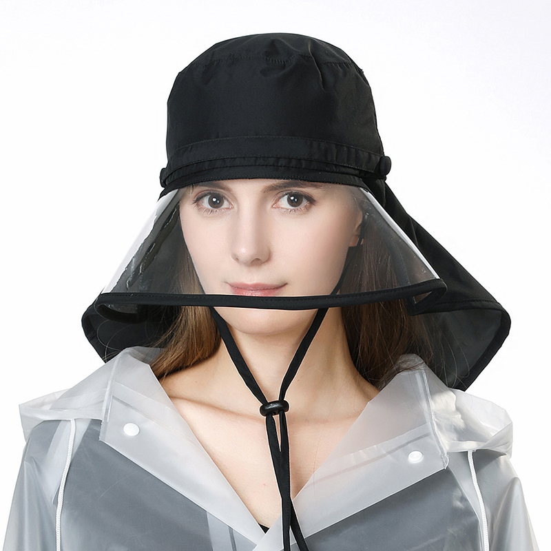 fd073766336 SIGGI Waterproof Rain Hats For Women Elastic Chin Cord Transparent Visible  Brim Rain Protection Bicycle Caps Female 99046-in Bucket Hats from Apparel  ...