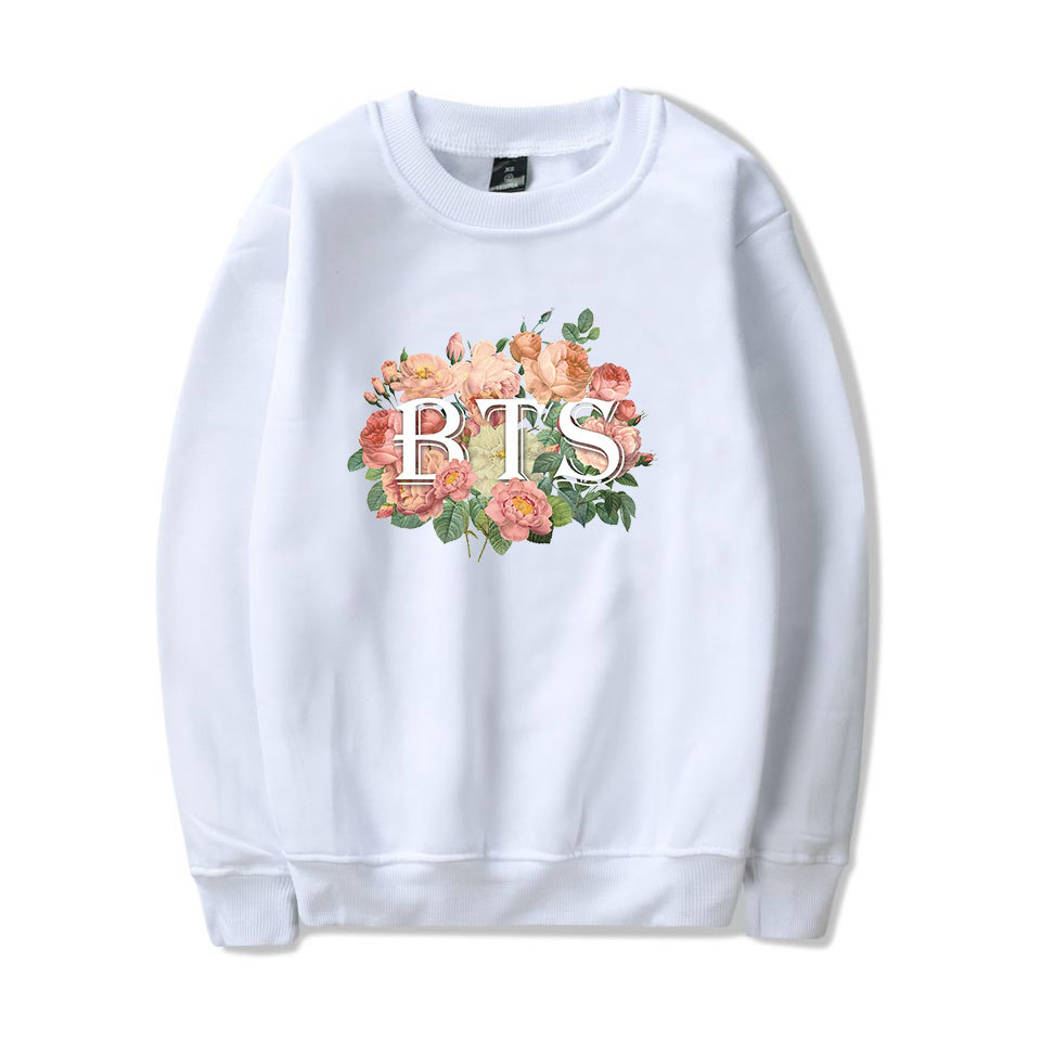 kpop BTS same loose flowers leaves Print women hoodies korea men and women Spring autumn cotton streetwear Harajuku sweatshirts