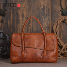 AETOO  Japan and South Korea personality first layer of planted tanned leather handbags handmade wiping shoulder bag computer