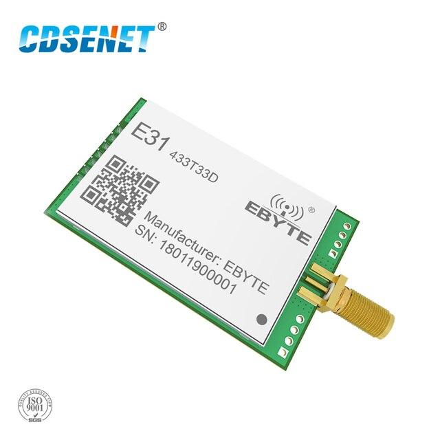 Transceptor AX5243 de 433 MHz, módulo de radiofrecuencia de largo alcance, 33dBm, CDSENET, E31 433T33D, UART, SMA, macho, 2W, 433 MHz, transmisor y receptor rf