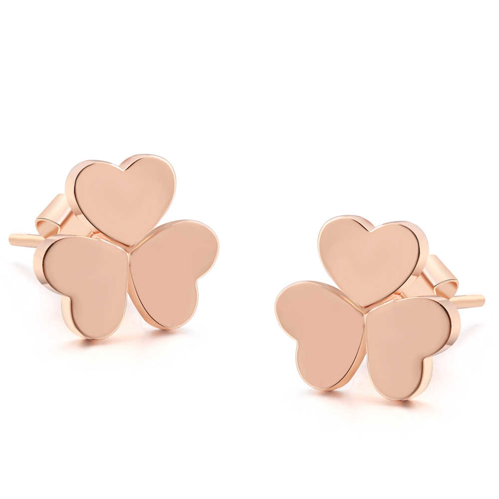 ZHOUYANG ZYE196 Classic Heart Leaf Rose Gold Color Simple Stud Earrings Fashion Jewelry For Girl Gift