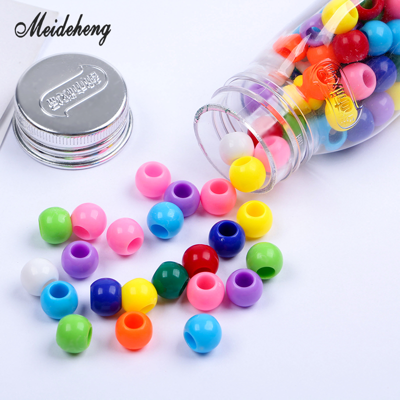 Wholesale Solid Acrylic Big hole Round Beads For Jewelry Making Hair rings Bracelets DIY candy Craft Accessories kids' toy 10mm