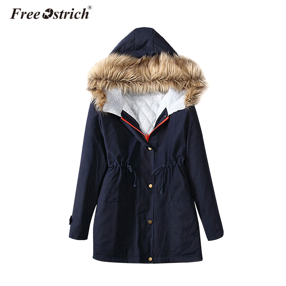 Free Ostrich   Parkas   Winter Warm Women Pockets Fur Hooded Coat Thick Jacket Wide-Waisted Slim Long Sleeve Oversized Coat A0235