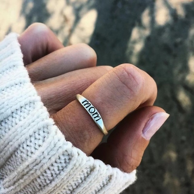 DoreenBeads Love Mom Ring Dull Silver Color Carved Message Gift for Mother Fashi