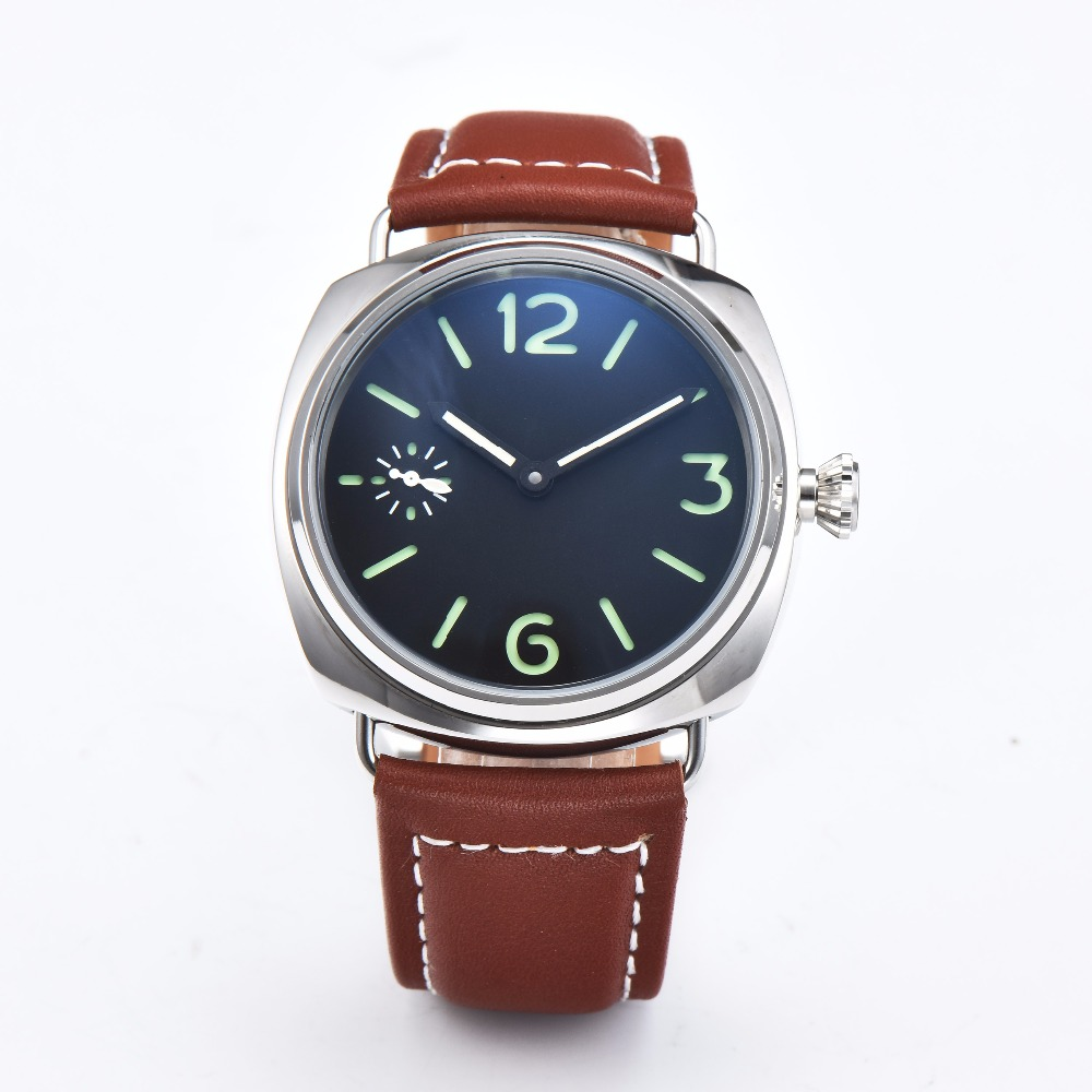 Bomax Marina 45mm Watch Leather Strap Luminous Hands Mechanical Movement Polishing 316L Stainless Steel Case Black Dial  H58-6