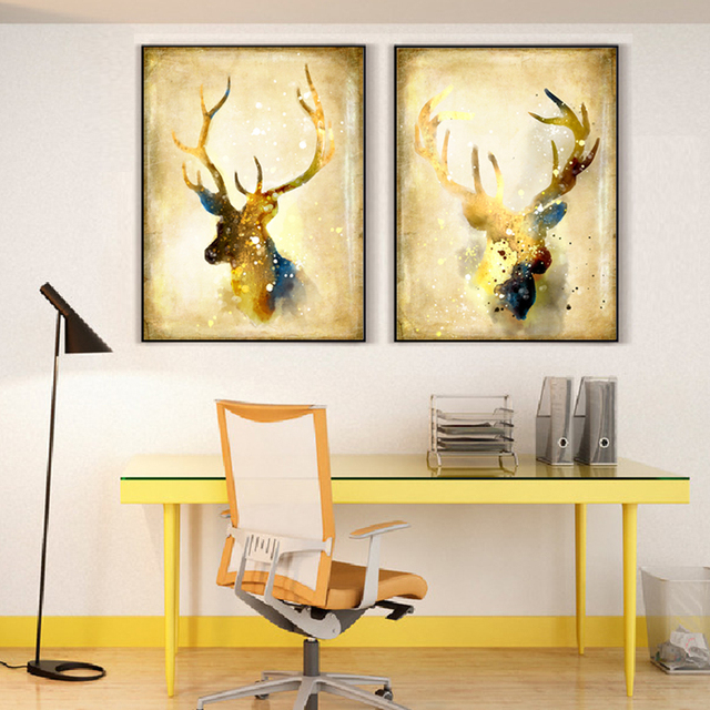 Modern Abstract Golden Deer Head Art Oil Print Poster Wall Picture Nordic Home Living Room Decor Canvas Painting No Frame Gift