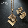 OUMEILY Jewelry Sets Pendant African Beads Fashion Necklace Earrings Gold Plated Imitation Crystal Wedding Bridal Accessories