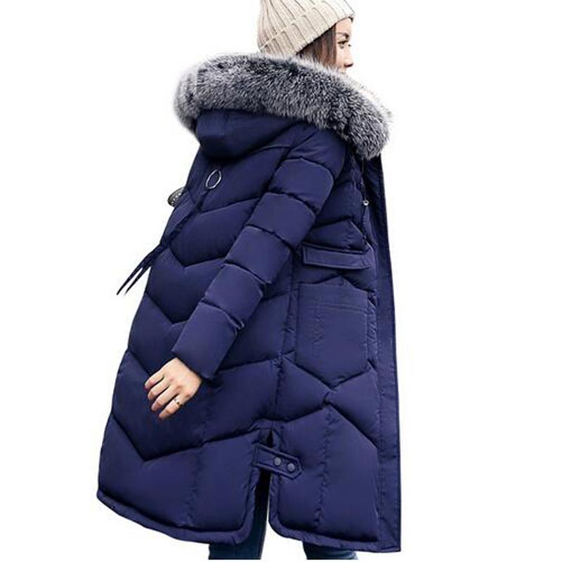 2017 winter women hooded coat fur collar thicken warm long jacket female plus size 3XL outerwear parka ladies chaqueta feminino швейная машина vlk napoli 2200 белый