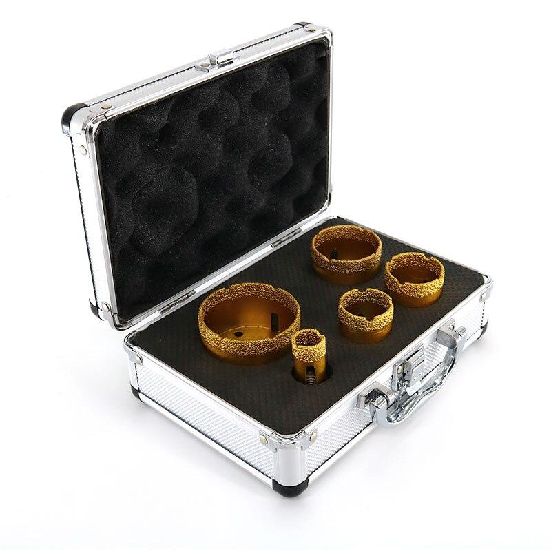 5Pcs Set Diamond Drill Bit Yellow Brazing Aluminum Box Packed Professional Metal Alloy Stone Wood Drill