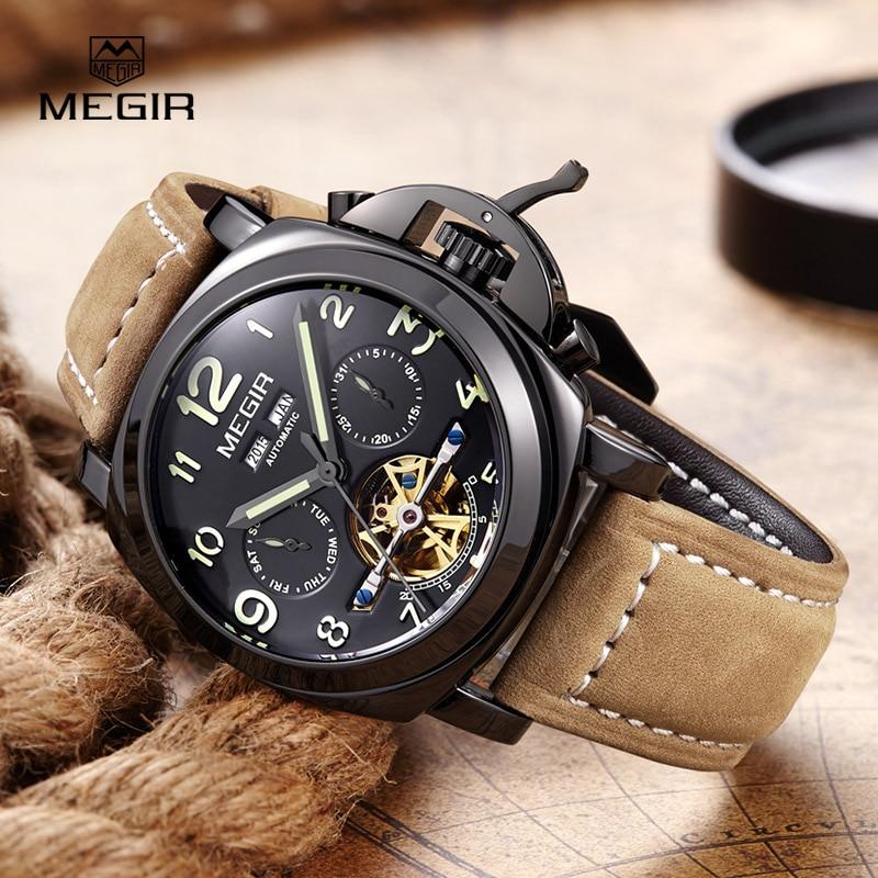 Gratis frakt Megir 3206 Luminous Mechanical Watch Men Äkta Nubuck - Herrklockor - Foto 4