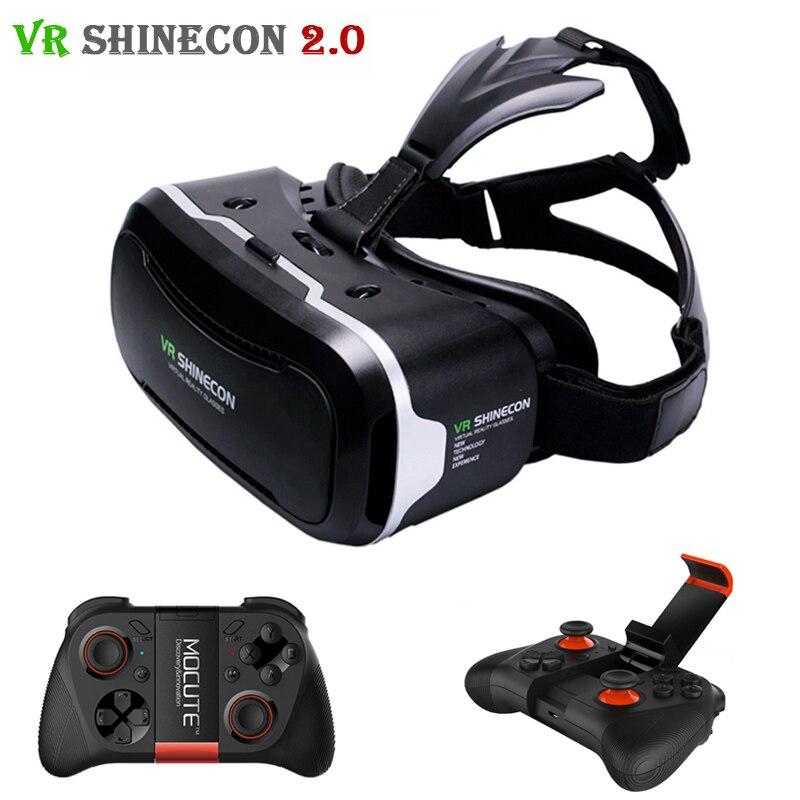 <font><b>VR</b></font> <font><b>Shinecon</b></font> 2.0 <font><b>Glasses</b></font> 3D <font><b>Headset</b></font> <font><b>Virtual</b></font> <font><b>Reality</b></font> Head Mount Cardboard Helmet vrbox For 4.7-6.0' Phone + Mocute Gamepad