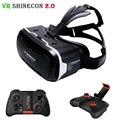 Shinecon vr 2.0 óculos 3d de realidade virtual de fone de ouvido cabeça montar capacete vrbox para 4.7-6.0 'telefone de papelão + mocute gamepad